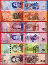 VENEZUELA FULL SET 2 5 10 20 50 & 100 Bolivares 2007-2012 Pick 88/93 UNC