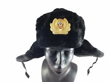 Original Soviet Army Military Soldier Winter Fur Hat Ushanka Officer badge SizeM