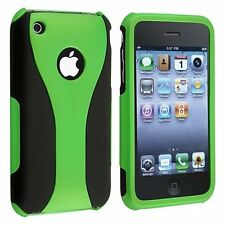 GREEN BLACK 3-PIECE HARD CASE COVER for APPLE iPHONE 3G S 3GS