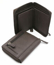 Bifold Brown Genuine Leather Zip-Around Compact Wallet with Outer Zipper Pocket