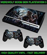 PLAYSTATION 3 CONSOLE STICKER WEREWOLF MOON SKIN GRAPHICS & 2 CONTROLLER SKINS