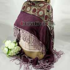 Circle Pattern Embroidery Lace With Long Funky Fun Tassel Trim  Scarf Shawl New
