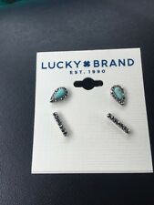 Lucky Brand Women's Turquoise Silver Bar Stud Earring Set F129