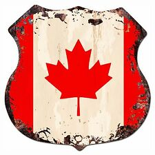 BP-0007 CANADA Flag  Shield Chic Sign Bar Store Shop Home Decor Gift
