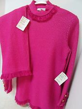 St John by Marie Gray Raspberry Pink 2pc Sweater Skirt Set Gold Button Sz 8 Tags