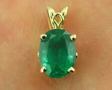 14k yellow gold 2.64 carat natural emerald oval scroll pendant new