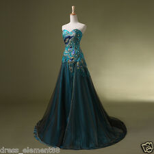 Gothic New Stock Peacock Prom Bridal Wedding Gown Formal Evening Party Dresses