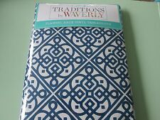 """WAVERLY---Lace It Up Navy-Flannel back tablecloth--Blue/Ivory-60"""" x 102""""--New"""