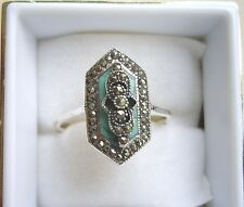 Stunning Deco Inspired Turquoise & Marcasite Ring Size 'S'
