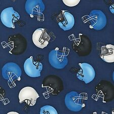 Fabric Football Helmets Blue Tossed on Navy Cotton by the 1/4 yard BIN
