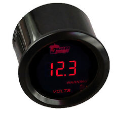 "2"" 52mm Car Red LED Light Digital Volt Voltage Gauge Meter Black Cover"