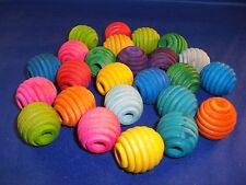 """10 Wood 1"""" Beehive Beads 5/16"""" hole Assorted Colors Parrot, Bird Toy Part"""