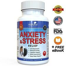 ANTI ANXIETY PILLS and STRESS RELIEF SUPPLEMENT Natural Capsules Calm Emotion