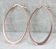 Shiny Stainless Steel Rose Gold Large Flat U Shape Hoop Earrings Jewelry Gift