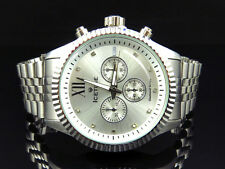 Mens Silver 45 MM Jubilee Bezel Diamond Watch from Icetime Jubilee-W (.10 Ct)
