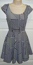 New Bird Finch Boutique Black White Geometric Stripe Skater Fit Flare Dress Sz S