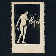 Nude Flower Girl/nude fleurs-Fille acte * vintage 1920s real photo pc