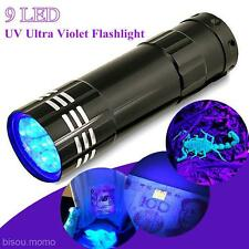9LED Mini UV Ultraviolet Flashlight Sterilization Pen Torch Flash Light AAA Lamp