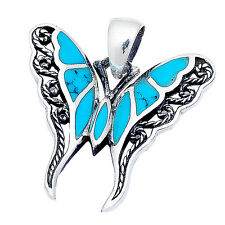 "Turquoise Filigree Butterfly .925 Sterling Silver Pendant 1""long"