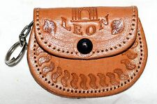 Mexican Tooled Tan Leather Mini Coin Purse with Key Ring Marked Recuerdo De Leon