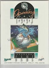 1993 FLORIDA MARLINS OPENING DAY INAUGURAL PROGRAM APRIL 5, 1993