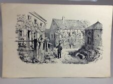 Collectible Old Etching Illustration Farewell soldiers Leaving Home Circa 1870's