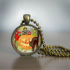 Halloween Necklace GlassTile Necklace Vintage Witch Brass Necklace cat jewelry