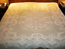 Vintage Antique Victorian HARRODS Lace Coverlet Cover Bedspread Ecue Ivory King