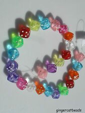 25 x Acrylic Beads - Dice - 8mm - Mixed Colour