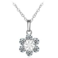 Silver Snowflake Necklace Pendant with 6 Zircon Crystals Fashion Jewellery