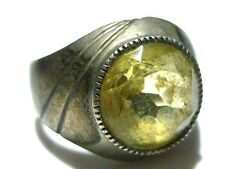 EUROPEAN 800 SILVER WOMENS ESTATE YELLOW CRYSTAL RING SIZE 6.5
