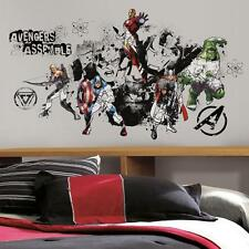 New Giant AVENGERS ASSEMBLE BLACK & WHITE WALL DECALS Stickers Boys Room Decor