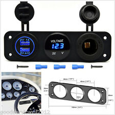 DC5V 1A/2.1A 2USB 3 Hole Panel Car Cigarette Lighter Charger Blue LED Voltmeter