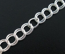 8SJ Silver Plated Double Ring Loops Link Chains For Jewelry Making Findings 4M