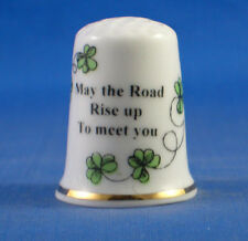 Birchcroft Thimble - Irish Sayings -- May the Road Rise Up  -- Free Dome Box