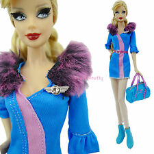 Stewardess Fluffy Dress Stocking Shoes Travel Bag Clothes Outfit For Barbie Doll
