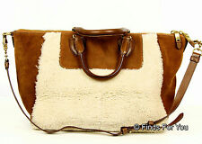 J Crew Collection Suede and Shearling Satchel in Ivory  Saddle Style  $595 New