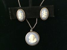 Blue Wedgewood Cameo Set - Vintage Collectible