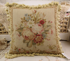 """18"""" Vintage Chic Shabby Floral House Sofa Chair Decorative Needlepoint Pillow"""