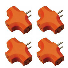 4 Pcs 3 Way Outlet Wall Triple Tap Adapter Grounded Tri Tap Electrical Splitter
