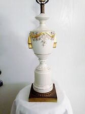 Vintage Gold & Cream Porcelain Swag Hollywood Regency French Empire Table Lamp