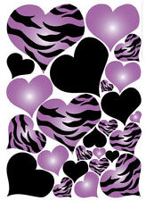 HEARTS purple & black zebra print wall stickers 25 big decals animal love teen