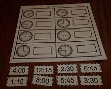 What Time Is It laminated preschool child learning game. Pre-K thru Kindergarten