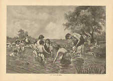 Children In Outdoor Swimming Pool, Infant, Vintage 1894 German Antique Art Print