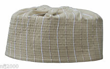 Reversable Handmade Pleated Top Light Brown Tall Muslim Kufi Hat (Med) 22-inch