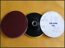 """10pc x100 Grits 5"""" ANGLE GRINDER VELCRO SANDING DISC & WHEEL BACKING PAD NEW"""