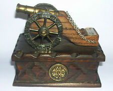 Wooden Box with Brass Movable Spanish Canon On Lid - Information Plaque.
