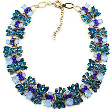 BEAUTIFUL ZARA DESIGN OPAL BLUE WHITE CLEAR CLUSTER STONES NECKLACE – NEW