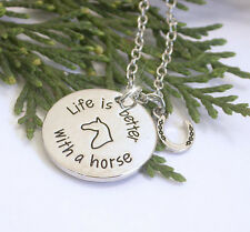 HORSE & WESTERN JEWELLERY JEWELRY LIFE IS BETTER WITH A HORSE NECKLACE SILVER
