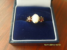 9ct GOLD VINTAGE GARNET & OPAL RING  ~ WELL WORN BAND ~ STONES SUPERB CONDITION
